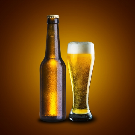 brown bottle: Cold Beer Bottle and Glass of beer