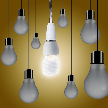 turn off: Light bulb turn on where other bulbs are off Stock Photo