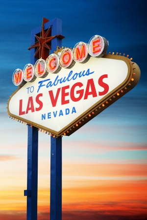 Welcome To Las Vegas neon sign at sunset  Nevada, USA photo