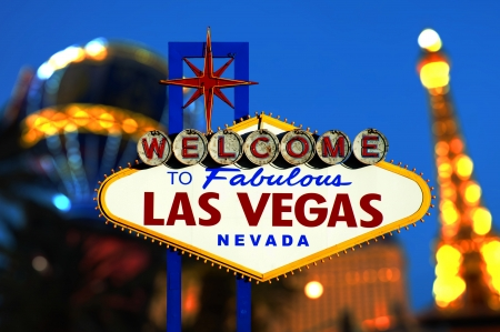 Welcome To Las Vegas neon sign with bokeh of light  Nevada, USA