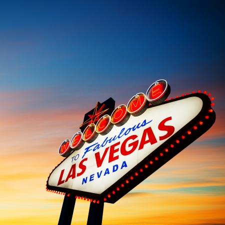 las: Welcome To Las Vegas neon sign at sunset  Nevada, USA