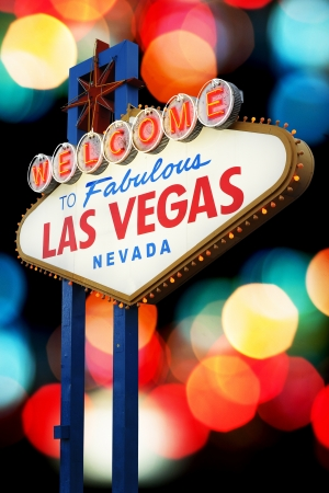 Welcome To Las Vegas neon sign with bokeh of light  Nevada, USA photo