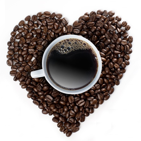 rich life: Hot Coffee Cup on coffee bean form heart shape