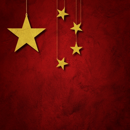chinese flag: Flag of China with paper cut in star shape Stock Photo