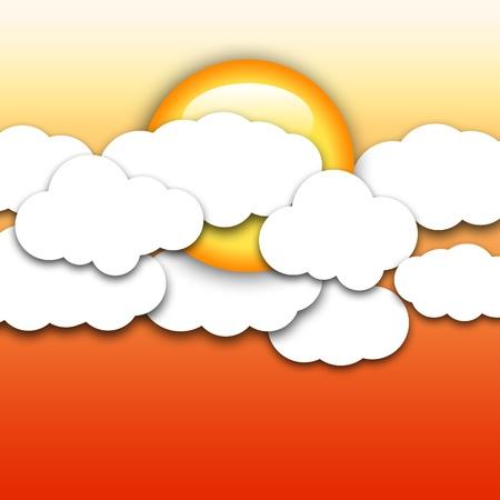 Papel forma nubes con el sol sobre fondo amarillo