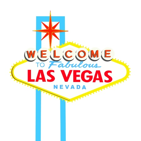 las vegas strip: Welcome to Las Vegas Sign on White background