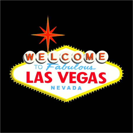 las vegas strip: Welcome to Las Vegas Sign on Black background Illustration