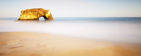 california coast: Panorama shot of Natural Bridges State Beach, Santa Cruz, California, USA