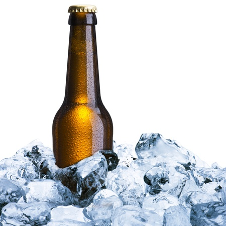Bottle of beer on ice photo