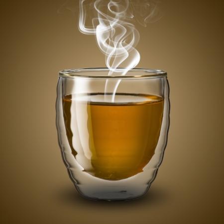 chai: Glass of hot tea with smoke
