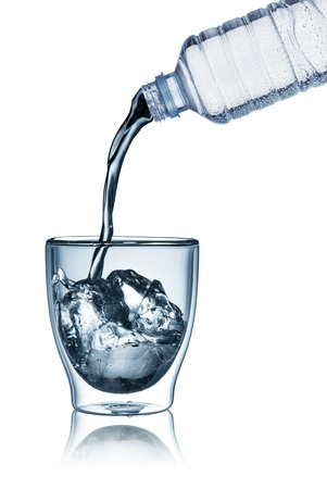 welling: Water pour from water bottle to glass with ice