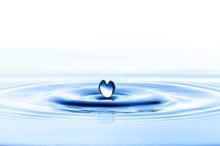 Waterdruppel met watergolf en rimpel