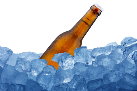 Beer Bottle on ice cubes photo