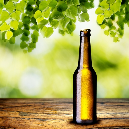 Beer Bottle on wood table photo