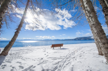 dream lake: Winter in Lake Tahoe, California, United States of America Stock Photo