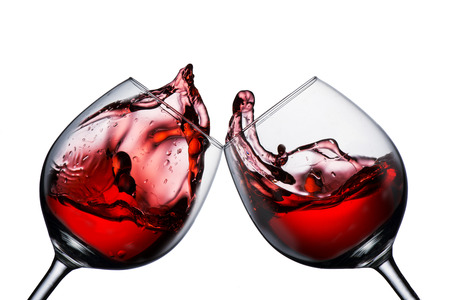 Red Wine Glass Juicht met wijn splash Stockfoto