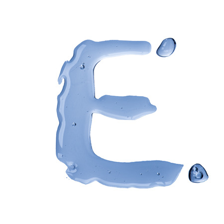 Water droplet form alphabet letter  Letter E photo