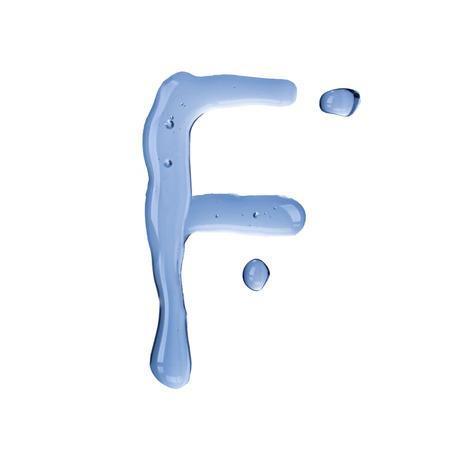 Water droplet form alphabet letter  Letter F