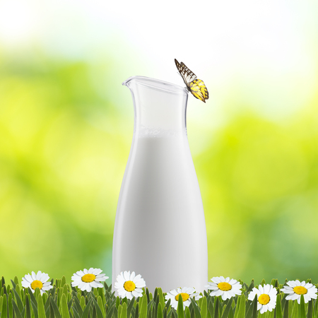 Jar of Milk on Green Grass with Butterfly photo