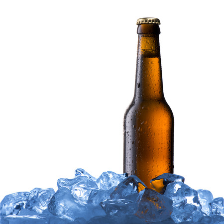 taphouse: Beer Bottle on ice cubes Stock Photo