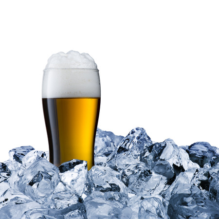 Beer Glass in Ice Cubes photo