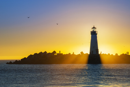 Light House at Sunset photo