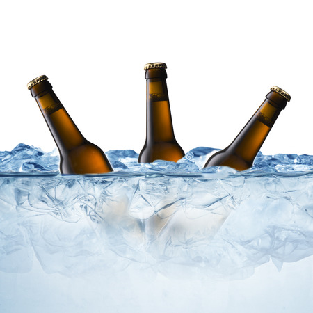 Beer Bottles in Ice Cubes photo