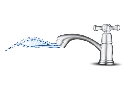 cleanness: Water Splash from Water Faucet Stock Photo