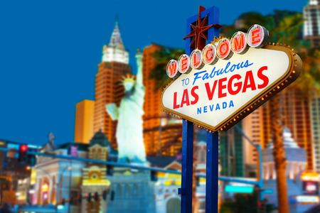 welcome symbol: Welcome to Las Vegas neon sign Stock Photo