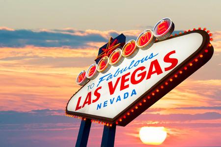las vegas night: Welcome to Las Vegas neon sign Stock Photo