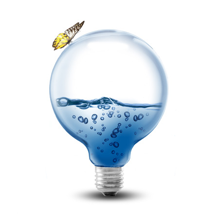 LightBulb With Water Inside on white background photo