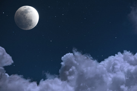 Moon and Cloud at Night, Starry Night photo