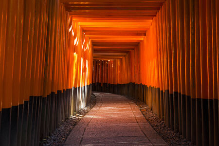 gateway: Fushimi Inari Shrine. Shrines line up in Kyoto, Japan