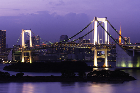 Rainbow Bridge At Night, Tokyo Japan photo