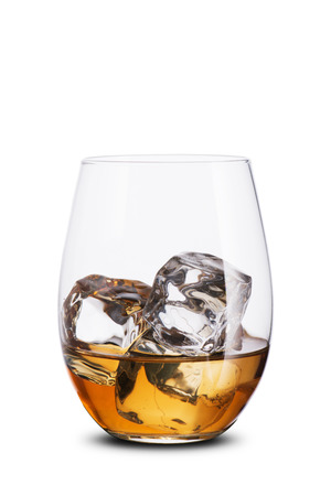 whisky glass: Glass of Whiskey on the Rock with Ice Cubes