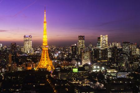 red sky: Tokyo Tower, Tokyo, Japan Editorial