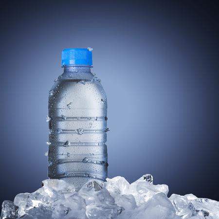 vaso con agua: Botella de agua en cubos de hielo