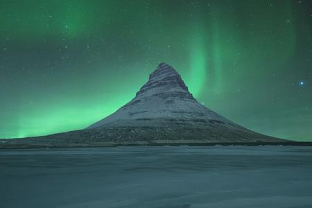 Northern lights at Mount Kirkjufell in Iceland