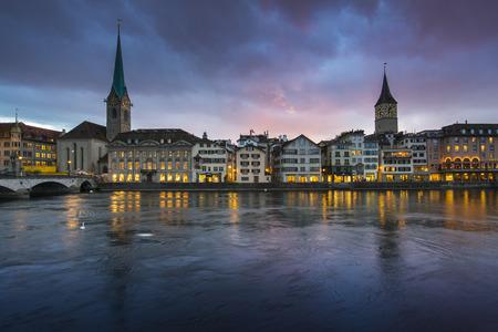 zurich: Zurich, capital of Switzerland during dramatic sunset. Stock Photo