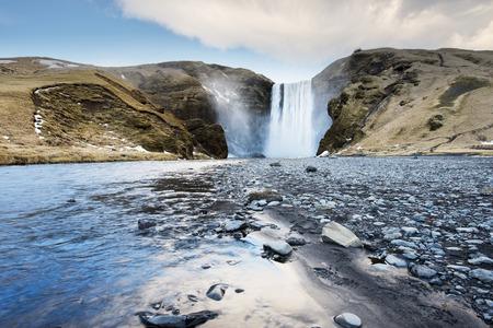 skogafoss waterfall: Famous Skogafoss waterfall in Iceland