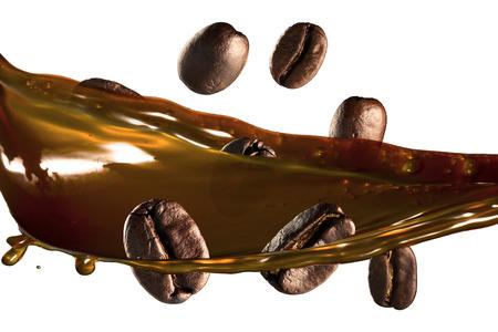 コーヒー豆のコーヒーのスプラッシュ 写真素材