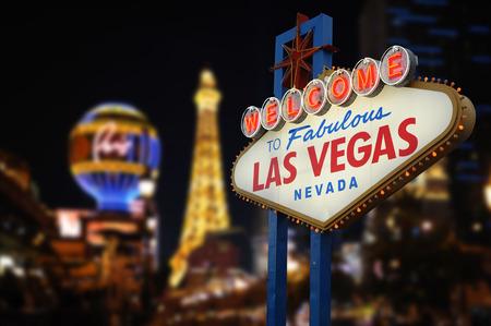 Bienvenido a la fabulosa Las Vegas Muestra de neón Foto de archivo - 41091498