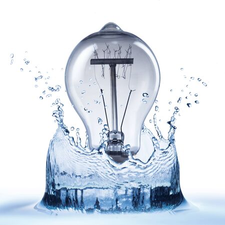 blue wave: Water Splash With Light Bulb