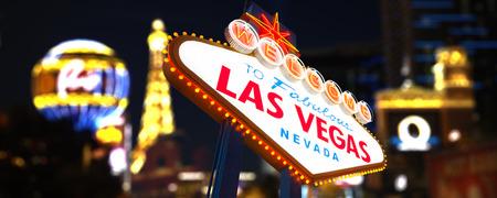 las vegas lights: Welcome to Las Vegas neon sign Stock Photo