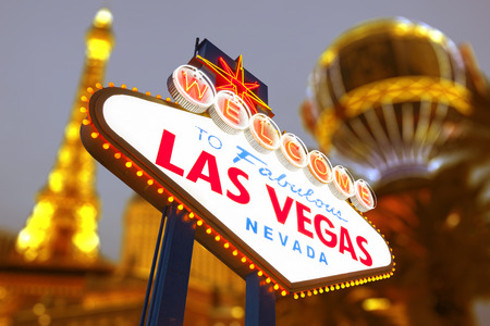 las: Welcome to Las Vegas neon sign Stock Photo