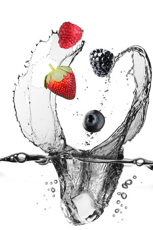 water spray: Water Splash With Various Berries