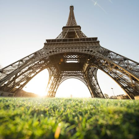 europe travel: The Eiffel Tower is one of the worlds most famous landmark. It is also one of the most visited place in Paris, France. Stock Photo