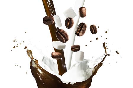 Coffee Splash and Milk With Sugar Stock Photo