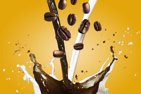 Café au lait Splash Banque d'images - 43175593