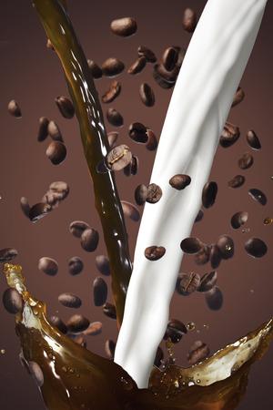 grano de cafe: Grano y chapoteo de la leche